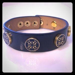 Rustic Cuff wide Meagen bracelet in navy